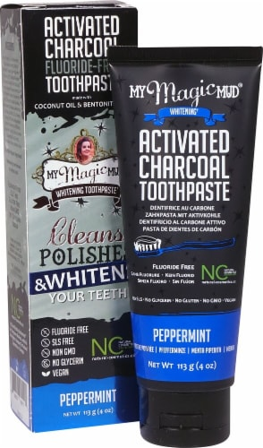 My Magic Mud  Whitening Toothpaste with Activated Charcoal   Peppermint Perspective: front