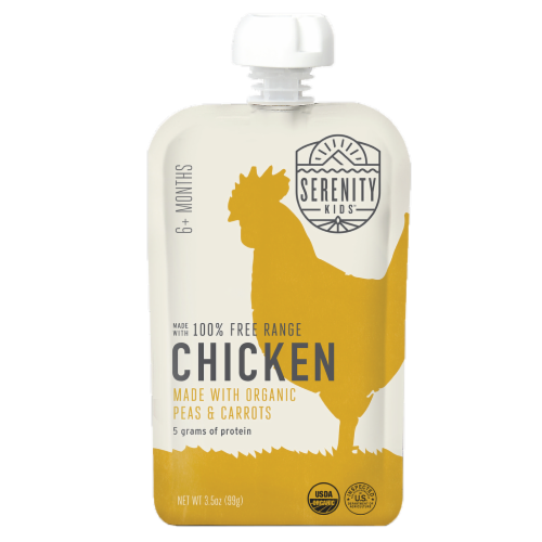 Serenity Kids Free Range Chicken with Organic Peas and Carrots Baby Food Perspective: front
