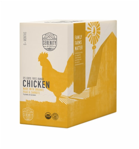 Serenity Kids Chicken with Organic Peas & Carrots Baby Food Pouches Perspective: front
