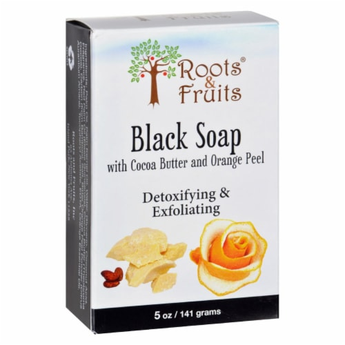 Roots and Fruits Bar Soap - Black Soap - Cocoa Butter and Orange Peel - 5 oz Perspective: front