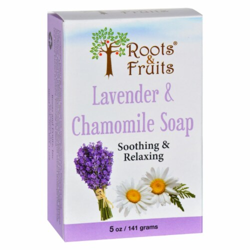 Roots and Fruits Bar Soap - Lavender and Chamomile - 5 oz Perspective: front