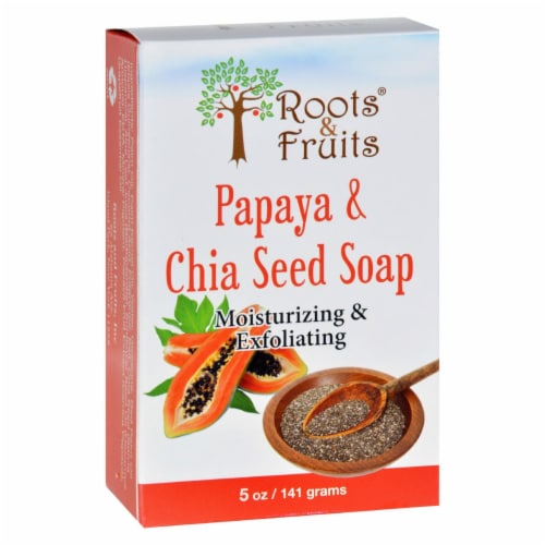 Roots and Fruits Bar Soap - Papaya and Chia Seed - 5 oz Perspective: front
