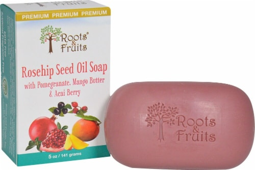 Roots & Fruits Bar Soap Rosehip Seed Oil Perspective: front