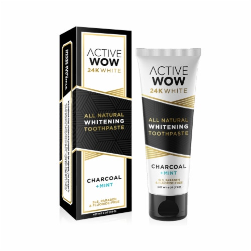 Active Wow 24K White Charcoal Mint Whitening Toothpaste Perspective: front