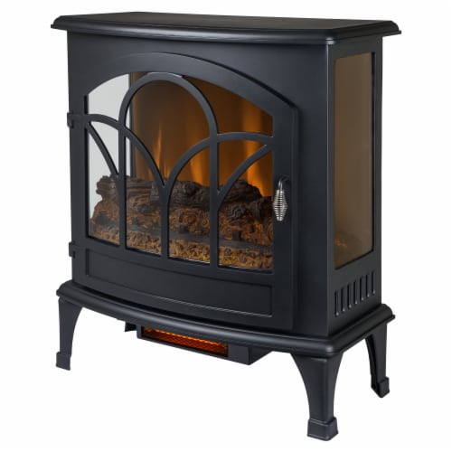 Pleasant Hearth Curved Front Infrared Panoramic Electric Stove - Black Perspective: front