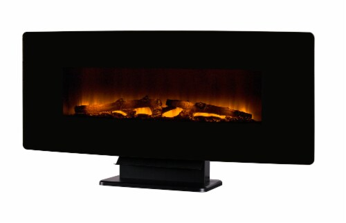 Muskoka Curved Front Wall Mount Electric Glass Fireplace - Black Perspective: front