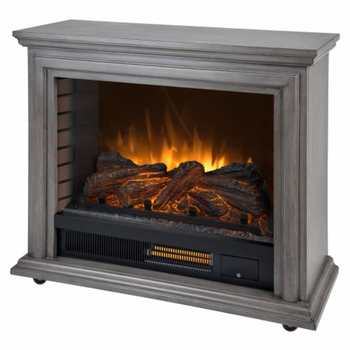 Pleasant Hearth Sheridan Mobile Infared Fireplace - Dark Weathered Gray Perspective: front