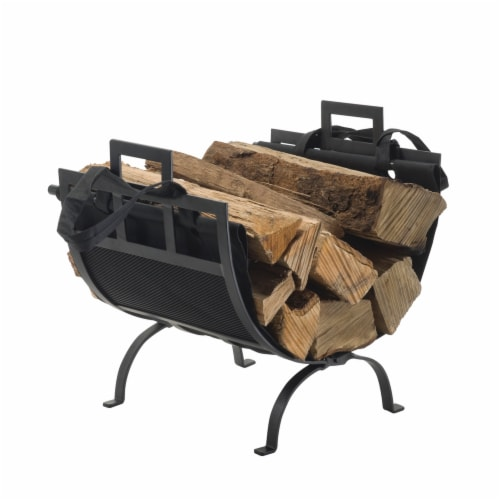 Pleasant Hearth Log Holder with Canvas Tote Perspective: front