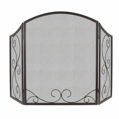 Pleasant Hearth Iris Scroll Fireplace Screen Perspective: front