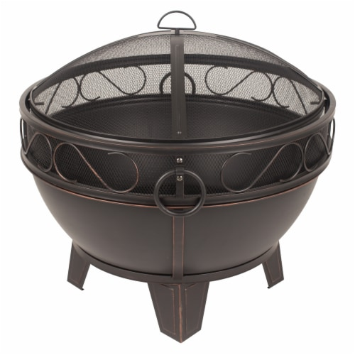 Pleasant Hearth Bellora Fire Pit - Rubbed Bronze Perspective: front