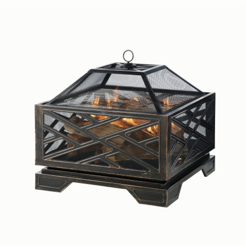 Pleasant Hearth Martin Square Deep Bowl Fire Pit Perspective: front