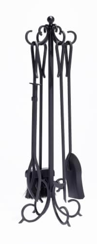 Pleasant Hearth Scroll Fireplace Tool Set - Black Perspective: front
