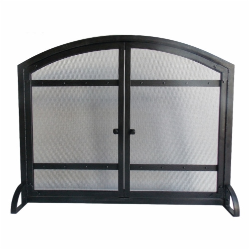 Pleasant Hearth Harper Fireplace Screen with Doors Perspective: front