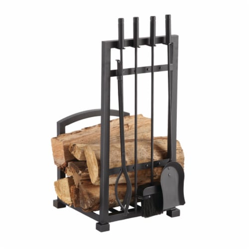 Pleasant Hearth Harper Log Rack with Tools Perspective: front