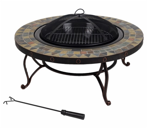 Pleasant Hearth Juniper Slate Top Fire Pit Perspective: front