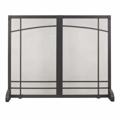 Pleasant Hearth Amherst Fireplace Screen - Black Perspective: front