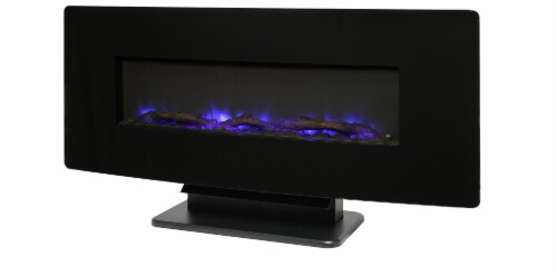 Muskoka Contemporary Curved Front Slim Line Wall Mount Infrared Electric Fireplace Perspective: front