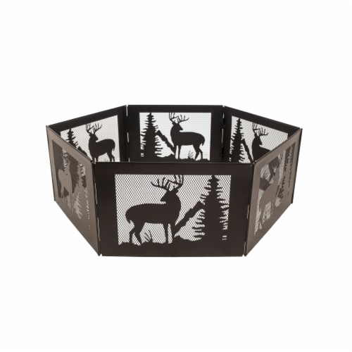 Pleasant Hearth Deer Mountain Folding Fire Ring Perspective: front