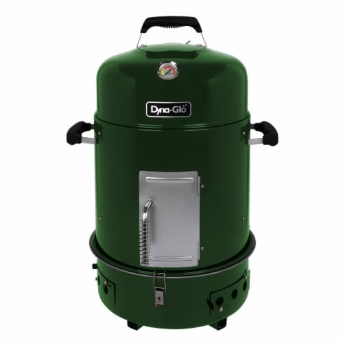 Dyna-Glo Compact Charcoal Bullet Smoker - High Gloss Forest Green Perspective: front