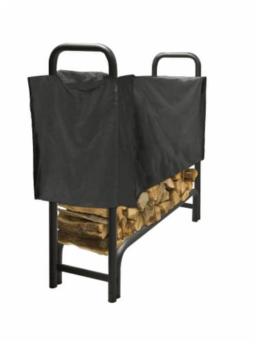 Pleasant Hearth Heavy Duty Log Rack with Half Cover - Black Perspective: front