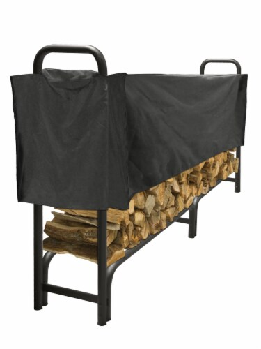 Pleasant Hearth Heavy Duty Log Rack & Half-Length Cover - Black Perspective: front