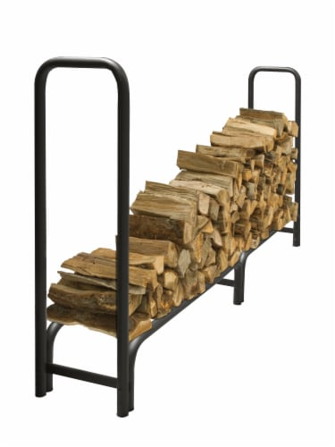 Pleasant Hearth Heavy Duty Log Rack with Full Cover - Black Perspective: front