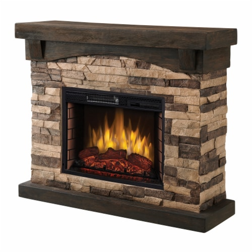 Muskoka Sable Mills Electric Faux Stone Fireplace - Tan Perspective: front