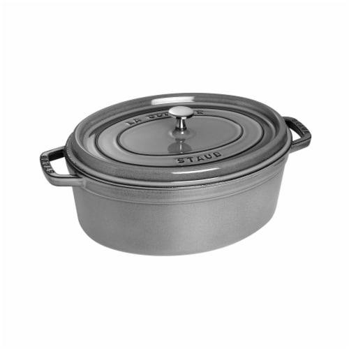 Staub Cast Iron 7-qt Oval Cocotte - Graphite Grey Perspective: front