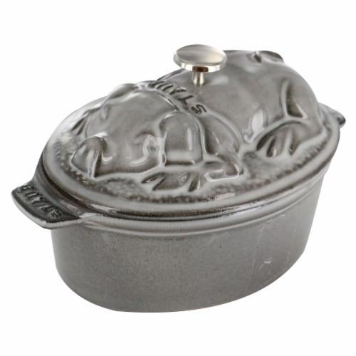 Staub Cast Iron 1-qt Pig Cocotte - Graphite Grey Perspective: front