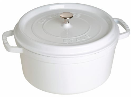 Staub Cast Iron 7-qt Round Cocotte - White Perspective: front