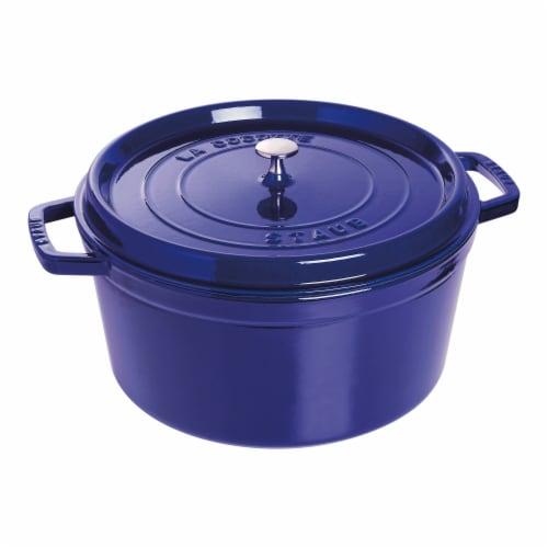 Staub Cast Iron 9-qt Round Cocotte - Dark Blue Perspective: front