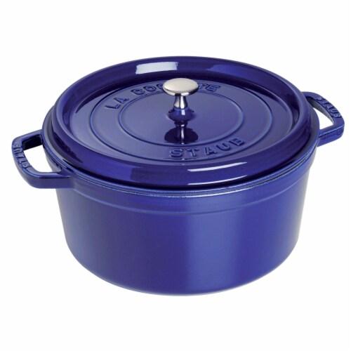 Staub Cast Iron 5.5-qt Round Cocotte - Dark Blue Perspective: front