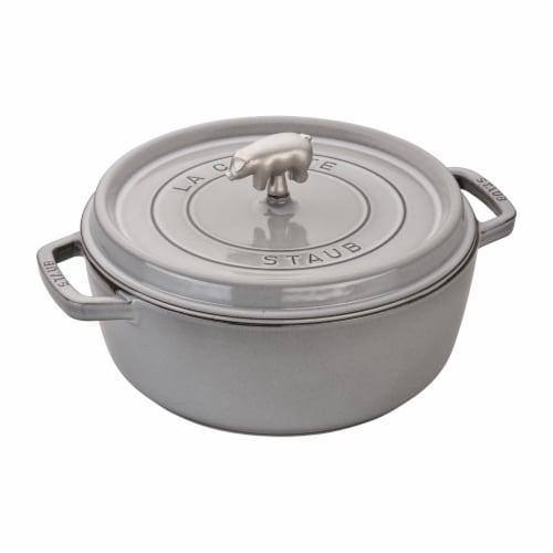 Staub Cast Iron 6-qt Cochon Shallow Wide Round Cocotte - Graphite Grey Perspective: front