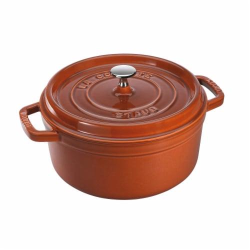 Staub Cast Iron 4-qt Round Cocotte - Burnt Orange Perspective: front