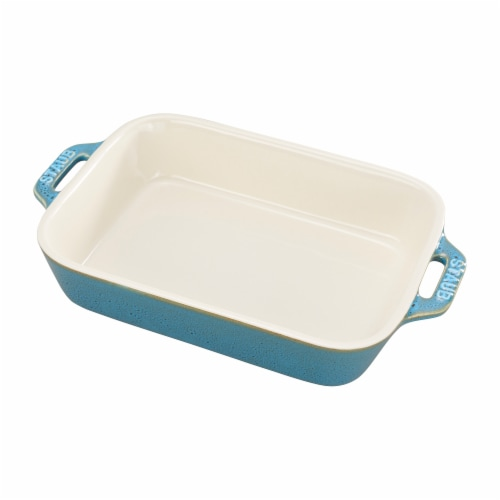 Staub Ceramic 7.5-inch x 6-inch Rectangular Baking Dish - Rustic Turquoise Perspective: front