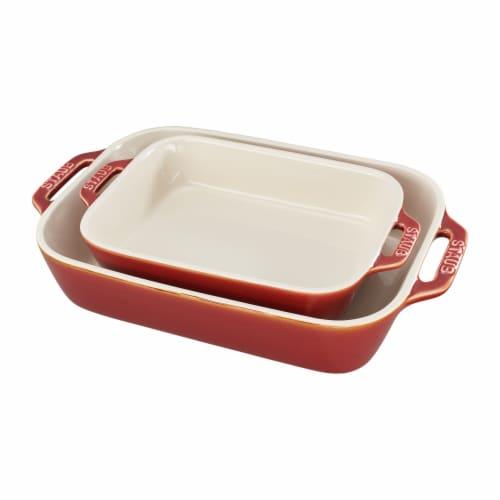 Staub Ceramic 2-pc Rectangular Baking Dish Set - Rustic Red Perspective: front