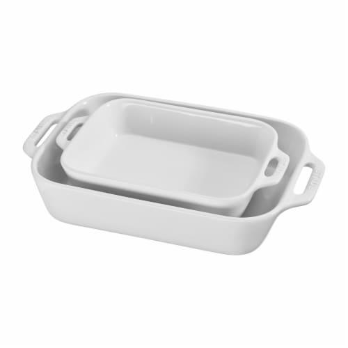 Staub Ceramic 2-pc Rectangular Baking Dish Set - White Perspective: front