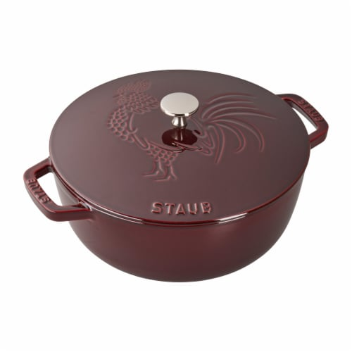 Staub Cast Iron 3.75-qt Essential French Oven Rooster - Grenadine Perspective: front