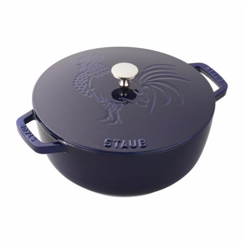 Staub Cast Iron 3.75-qt Essential French Oven Rooster - Dark Blue Perspective: front