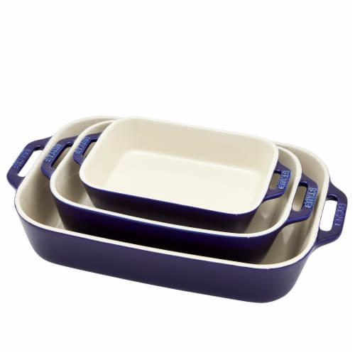 Staub Ceramics 3-pc Rectangular Baking Dish Set - Dark Blue Perspective: front