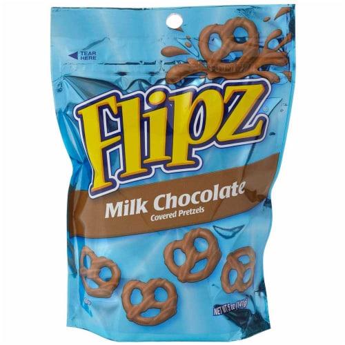 Flipz Milk Chocolate Covered Pretzel - Floorstand, 5 Ounce -- 48 per case. Perspective: front