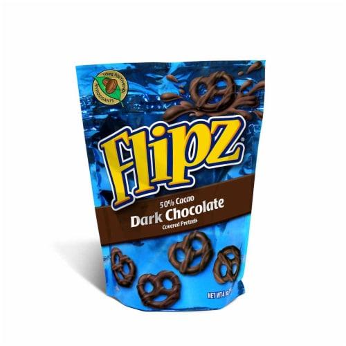 Flipz Dark Chocolate Covered Pretzel, 4 Ounce -- 6 per case. Perspective: front