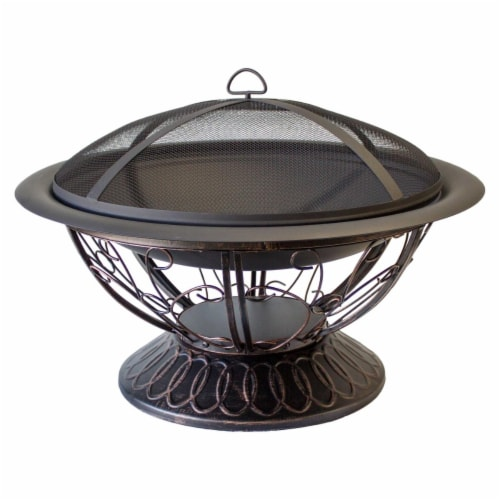 AZ Patio Heaters FT-022 30 x 18 in. Wood Burning Firepit with Scroll Design, Black Perspective: front