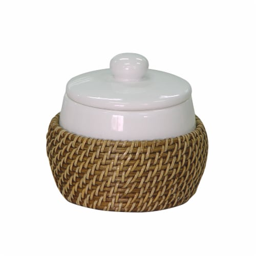 Elegant Home Fashions Bathroom Cotton Jar Ceramic With Rattan Brown Hana 701098 Perspective: front