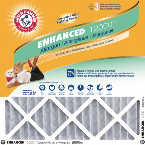Arm and Hammer Enhanced 12000 Air Conditioner Filter - White/Gray Perspective: front