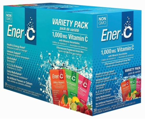 Ener C Vitamin C Packet Sachets Variety Pack 1000mg Perspective: front