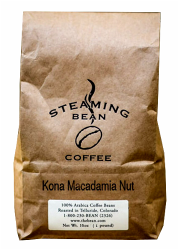 Steaming Bean Kona Macadamia Nut Whole Bean Coffee Perspective: front