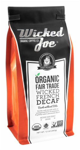 Wicked Joe  Organic Decaf Ground Coffee Dark Roast   Wicked French Perspective: front