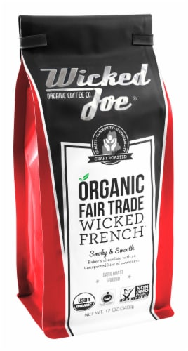 Wicked Joe  Organic Ground Coffee Dark Roast   Wicked French Perspective: front