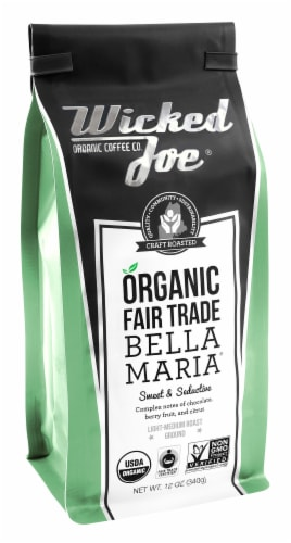 Wicked Joe  Organic Ground Coffee Light Medium   Bella Maria Perspective: front